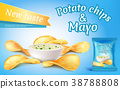 Vector potato chips and mayo in bowl. 38788808