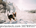 Puppy Of Mixed Breed Dog Playing In Snowy Forest 38789507