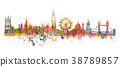 London skyline watercolor painting in grunge style 38789857