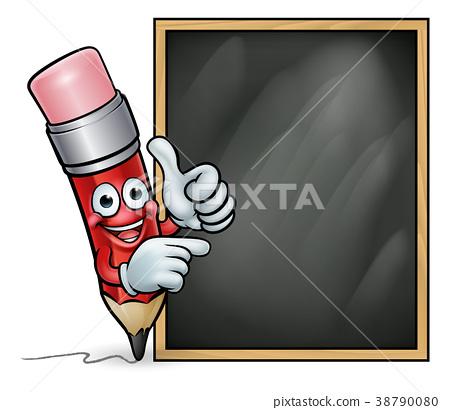 Cartoon Pencil Giving Thumbs Up and Blackboard 38790080