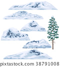 Set of Snow-capped Mountains and Hills. 38791008