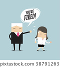 Angry boss firing employee. Unemployment. 38791263