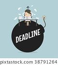 Businesswoman in hard work and sitting on deadline 38791264