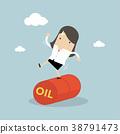 Businesswoman Balancing on Oil Barrel Rolling. 38791473