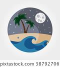 Night sandy beach. 38792706