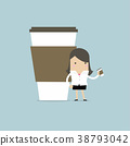Businesswoman has coffee break. 38793042