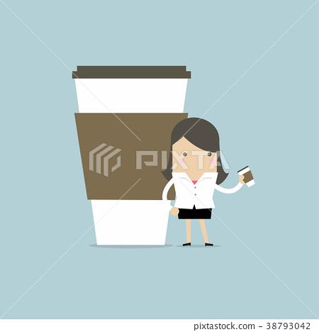 Businesswoman has coffee break. 38793042