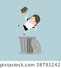 Businesswoman dropped into trashcan layoff concept 38793242