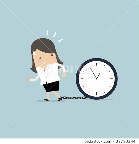 Businesswoman gets chained with big clock in time  38793244