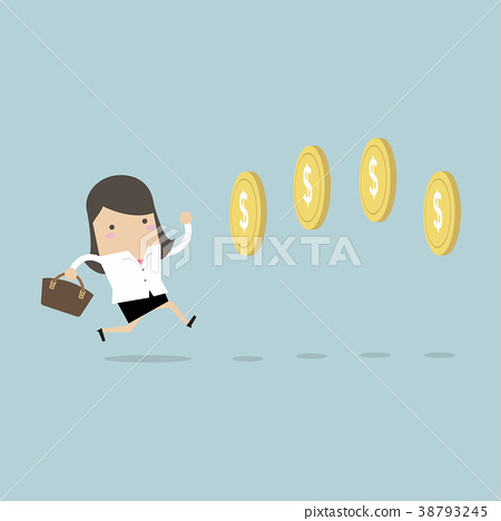 Businesswoman chasing coins video game style. 38793245