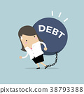Businesswoman carry debt. Financial concept. 38793388