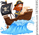 Pirate reading map on ship 38793895