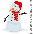 Snowman with happy face 38793899