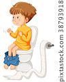 Little boy on the toilet 38793918