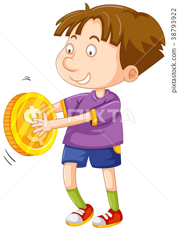Happy boy with golden coin 38793922