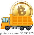Golden coin on dumping truck 38793925