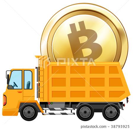 Golden coin on dumping truck 38793925