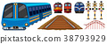 Railroad and different designs of trains 38793929