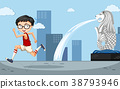 Background scene wtih boy running by the merlion 38793946
