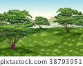Background scene with trees and green field 38793951