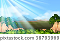 Background scene with sunlight in the sky 38793969