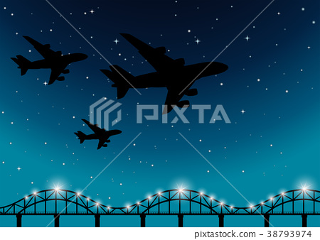 Background scene with airplanes flying at night 38793974