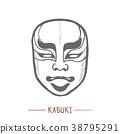 Kabuki Mask in Hand Drawn Style 38795291
