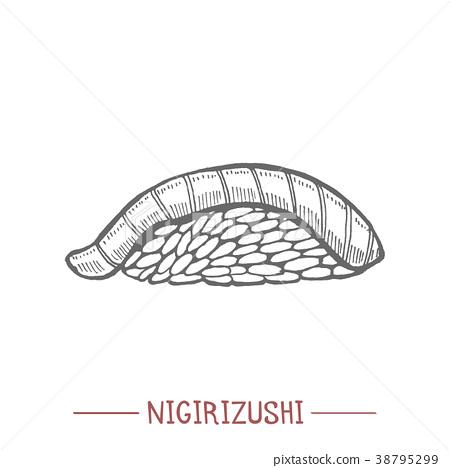 Nigirizushi in Hand Drawn Style 38795299