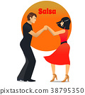 Salsa Dancing Couple in Cartoon Style 38795350