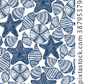 Shell Urchin and Starfish Hand-Drawn Pattern 38795379
