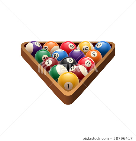 Pool billiards balls in triangle vector game icon 38796417