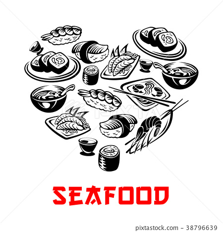 Vector Japanese seafood sushi heart banners 38796639