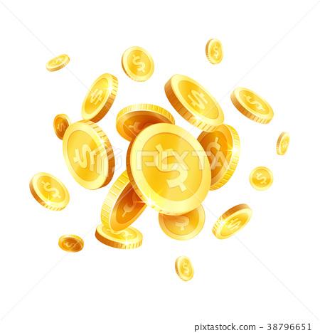 Vector golden coins splash splatter icon 38796651