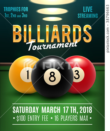 Pool billiards vector tournament poster 38796663