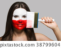 Female supporter in national colors of Poland 38799604