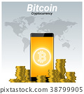 Virtual cryptocurrency bitcoin and smartphone 38799905