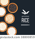 Different types of rice in plates and bowls on 38800859