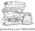Vector Hand Drawing of Stack of Towels 38801689