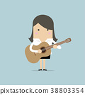 Businesswoman playing guitar. 38803354