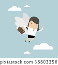 Businesswoman flying with her wing. 38803356