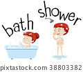 Kids taking bath and shower 38803382