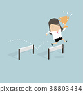 Businesswoman jumping over obstacle and trophy. 38803434