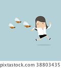 Businesswoman running away from dangerous insects. 38803435