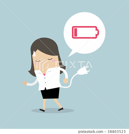 Businesswoman feeling tired and low power battery. 38803523
