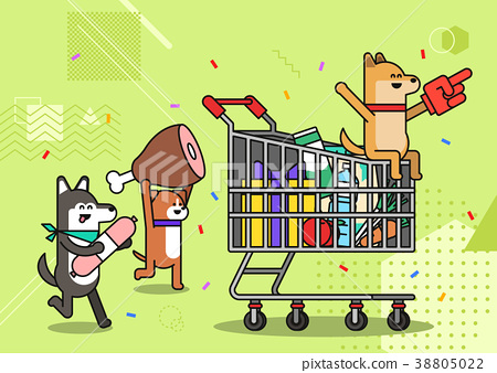 Illustration - animals shopping concept vector. various payment method of e-commerce, coupon and card.  006 38805022