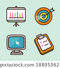 flat icons set - school objects and education items isolated on white background. 009 38805062