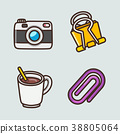 flat icons set - school objects and education items isolated on white background. 003 38805064
