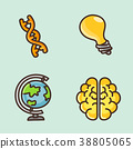 flat icons set - school objects and education items isolated on white background. 010 38805065