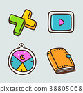 flat icons set - school objects and education items isolated on white background. 002 38805068