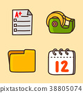 flat icons set - school objects and education items isolated on white background. 056 38805074